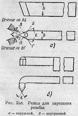 Резьбовой резец схема